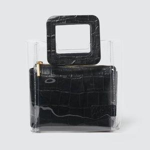 STAUD black croc mini shirley bag